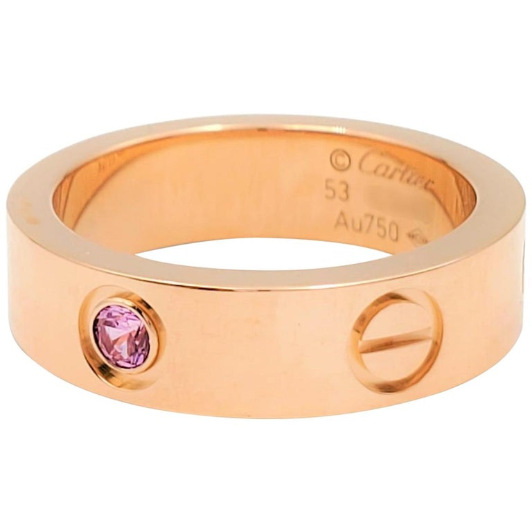 Cartier 'Love' Rose Gold and Pink Sapphire Ring For Sale