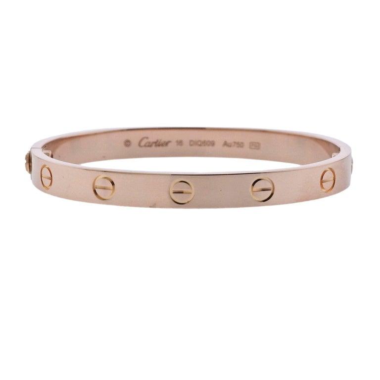 Cartier Love Rose Gold Bangle Bracelet