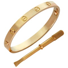 Cartier Love Rose Gold Bangle Bracelet Pouch Papers. Sz.16