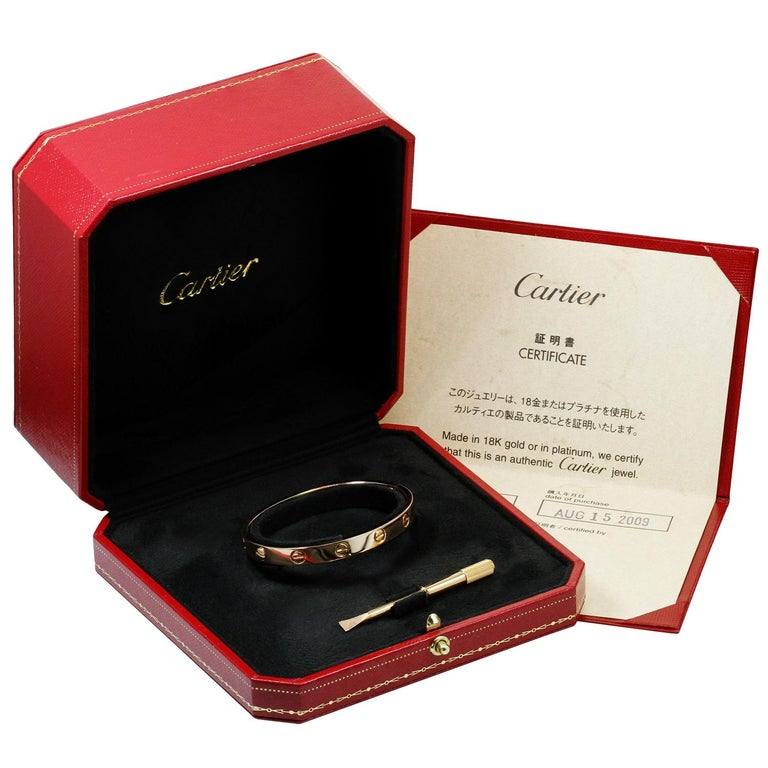 Cartier Love Rose Gold Bangle Bracelet Box Papers In Excellent Condition For Sale In New York, NY