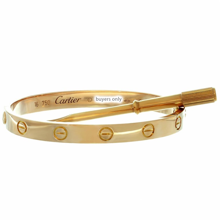 Cartier Love Rose Gold Bangle Bracelet Box Papers For Sale 1