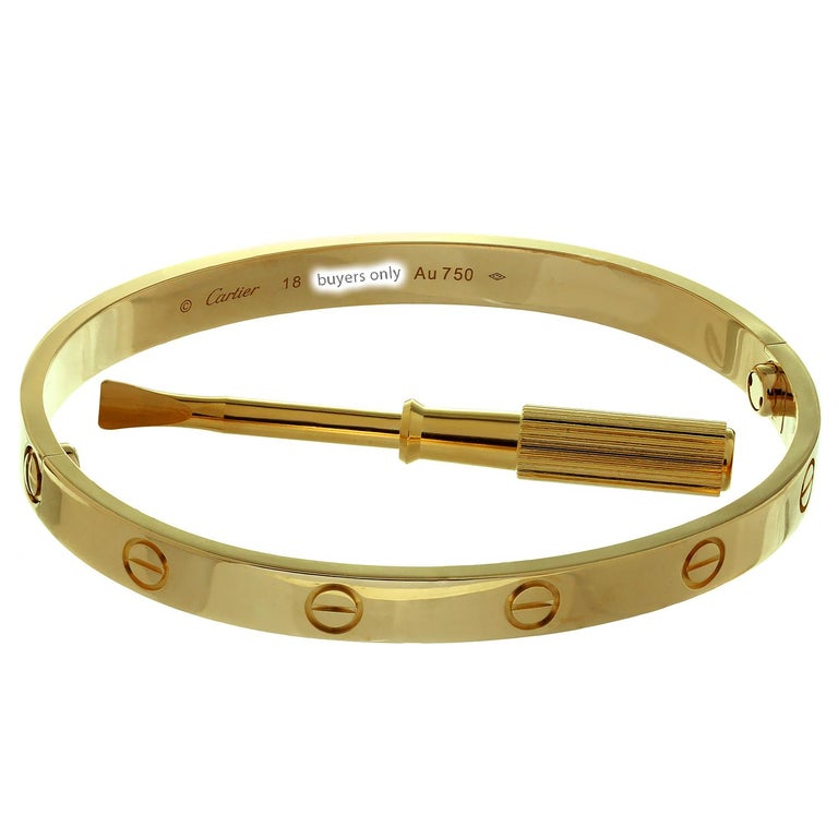 Cartier Love Rose Gold Bracelet Bangle New Model Pouch In Excellent Condition In New York, NY