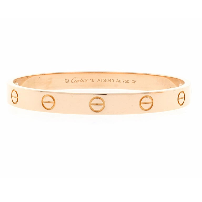 The Cartier love bracelet remains an iconic symbol of love that transcends convention. ♦ Designer / Cartier ♦ Original screw system ♦ Metal: 18 karat ♦ Circa January 2015 ♦ Size 16 ♦ Packaging: Cartier Boxes, screw driver Certificate ♦ Condition: