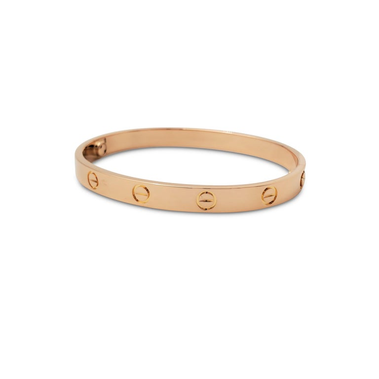 Cartier 'Love' Rose Gold Bracelet In Excellent Condition In New York, NY
