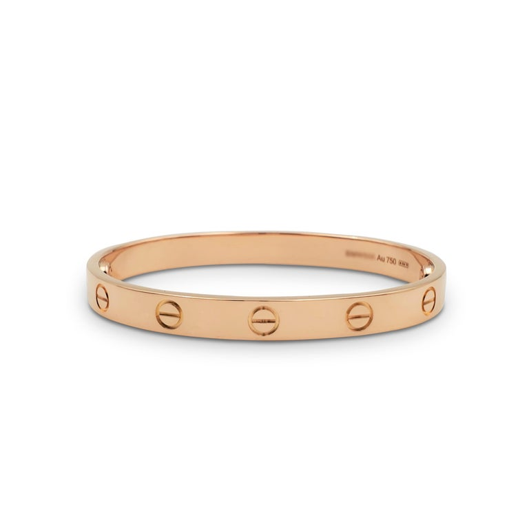 Cartier 'Love' Rose Gold Bracelet In Excellent Condition For Sale In New York, NY