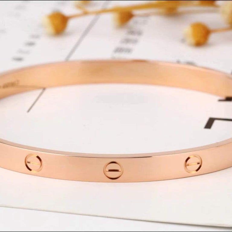 Cartier Love Rose Gold Bracelet B6035600 Size 16 In Excellent Condition In Banbury, GB