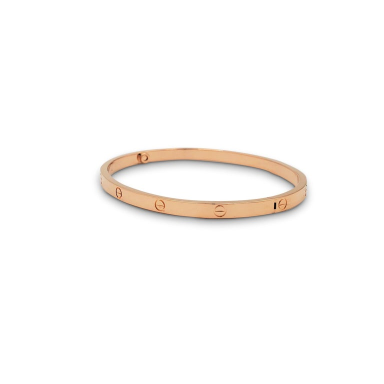 Cartier 'Love' Rose Gold Bracelet, Small Model In Excellent Condition For Sale In New York, NY