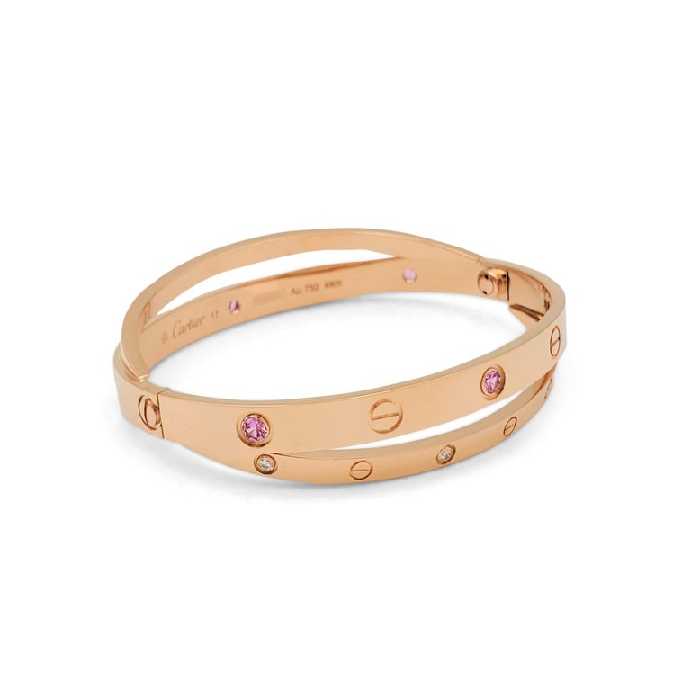 Round Cut Cartier 'Love' Rose Gold Diamond and Pink Sapphire Bracelet For Sale