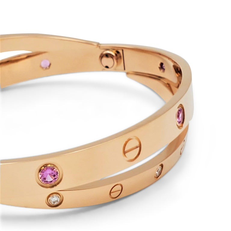 Cartier 'Love' Rose Gold Diamond and Pink Sapphire Bracelet In Excellent Condition For Sale In New York, NY
