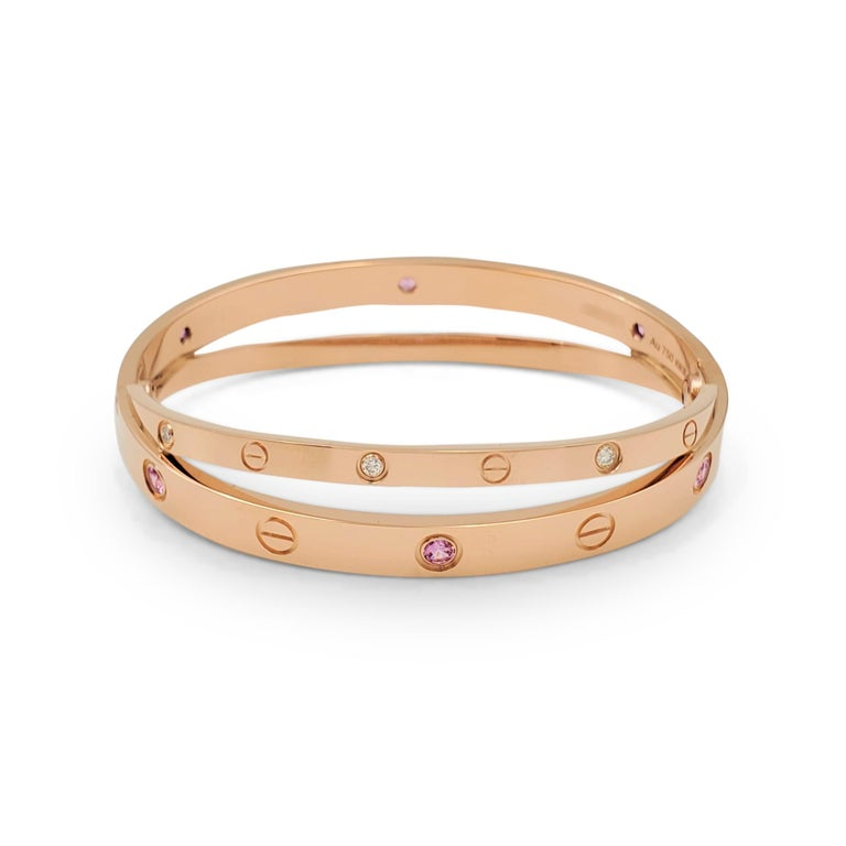 Women's or Men's Cartier 'Love' Rose Gold Diamond and Pink Sapphire Bracelet For Sale