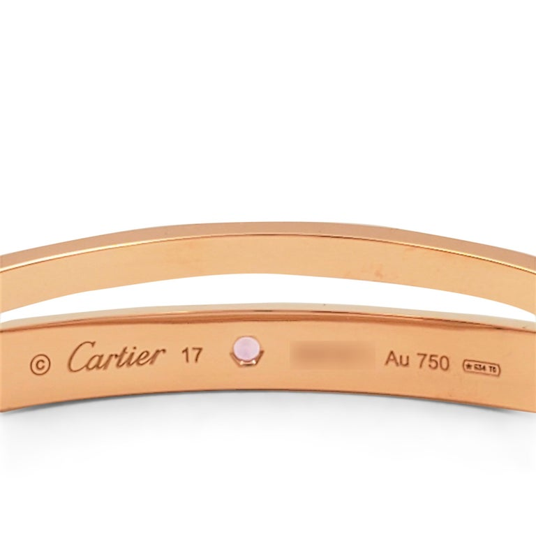 Cartier 'Love' Rose Gold Diamond and Pink Sapphire Bracelet For Sale 1