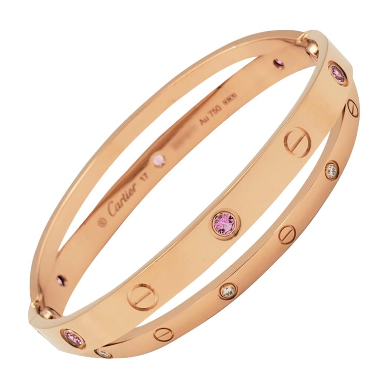 Cartier 'Love' Rose Gold Diamond and Pink Sapphire Bracelet For Sale