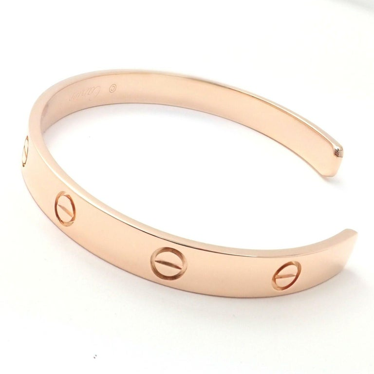 Cartier Love Rose Gold Open Cuff Bangle Bracelet In Excellent Condition For Sale In Holland, PA