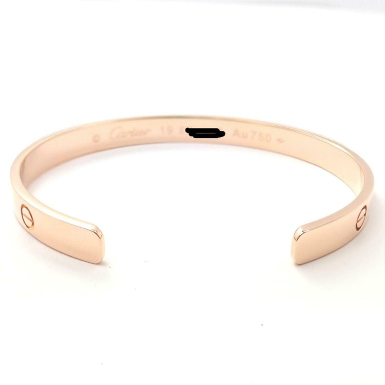 Women's or Men's Cartier Love Rose Gold Open Cuff Bangle Bracelet For Sale