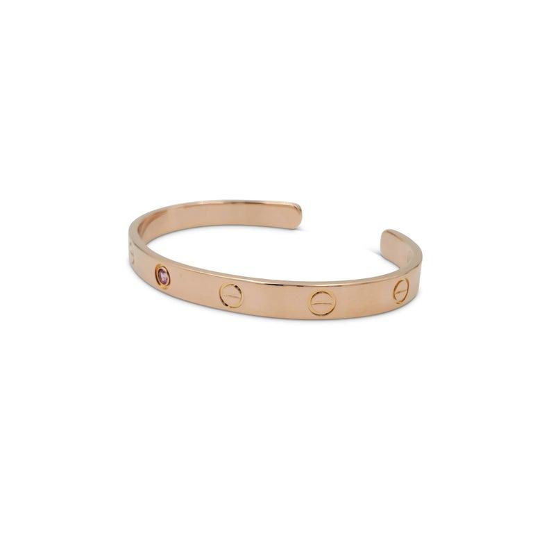 Round Cut Cartier Love Rose Gold Pink Sapphire Cuff Bracelet For Sale