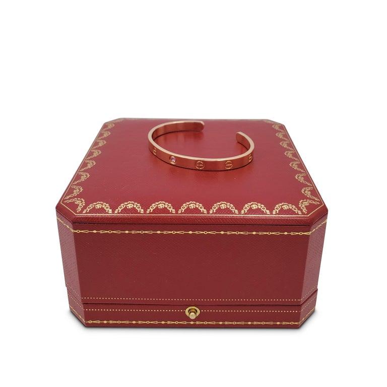 Cartier Love Rose Gold Pink Sapphire Cuff Bracelet For Sale 1