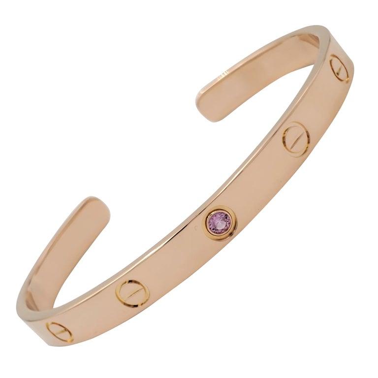 Cartier Love Rose Gold Pink Sapphire Cuff Bracelet For Sale