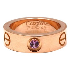 Cartier 'Love' Rose Gold Sapphire Ring