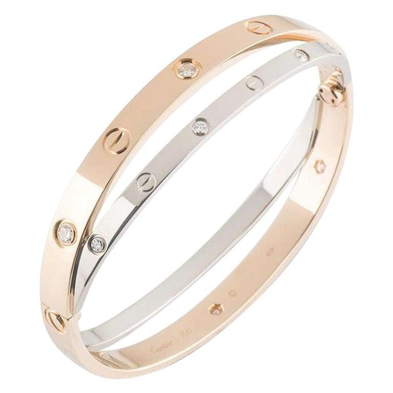Cartier Love Rose & White Gold Diamond Bracelet N6039116 For Sale