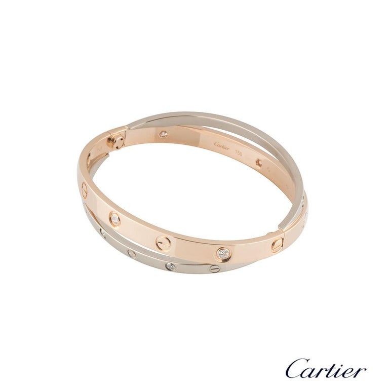 Cartier Rose and White Gold Diamond Double Love Bracelet In Excellent Condition In London, GB