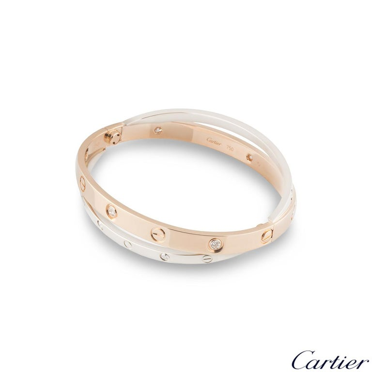 Round Cut Cartier Love Rose and White Gold Double Diamond Bracelet N6039116 For Sale