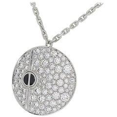 Cartier 18 Karat White Gold Love Round Ceramic Pendant Necklace