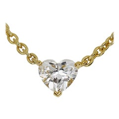 Cartier Love Support Heart 1.02ct Diamond 18kt Gold Solitaire Pendant Necklace