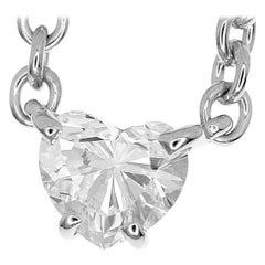 Cartier Love Support Heart Shape 0.72 Carat Diamond 18 Karat White Gold Necklace