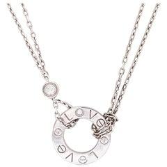 Cartier Love Two Diamond 18 Karat White Gold Pendant Necklace
