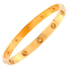Cartier LOVE Vintage 10 Diamond 18 Karat Yellow Gold Bracelet with Screwdriver