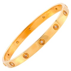 Cartier LOVE Vintage 10 Diamond Yellow Gold Bracelet with Screwdriver