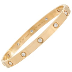 Cartier Love Vintage 18 Karat Yellow Gold 10 Diamond Bracelet