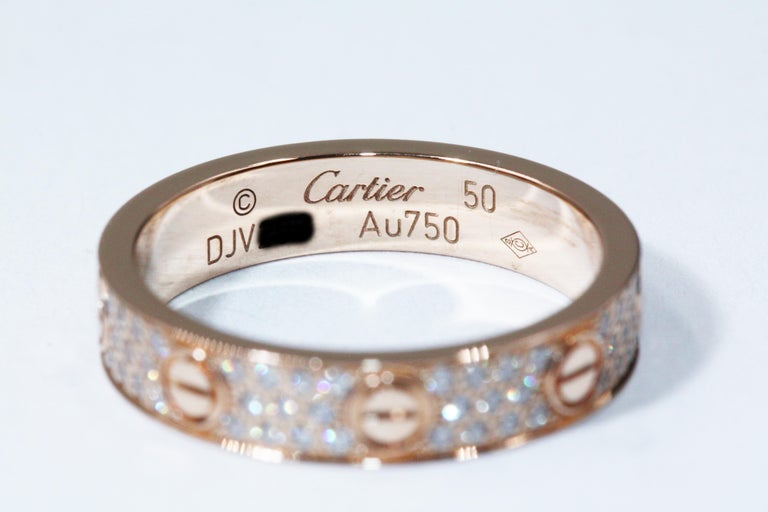 Cartier Love Wedding Band Diamond Paved Ring In Pink Gold For Sale