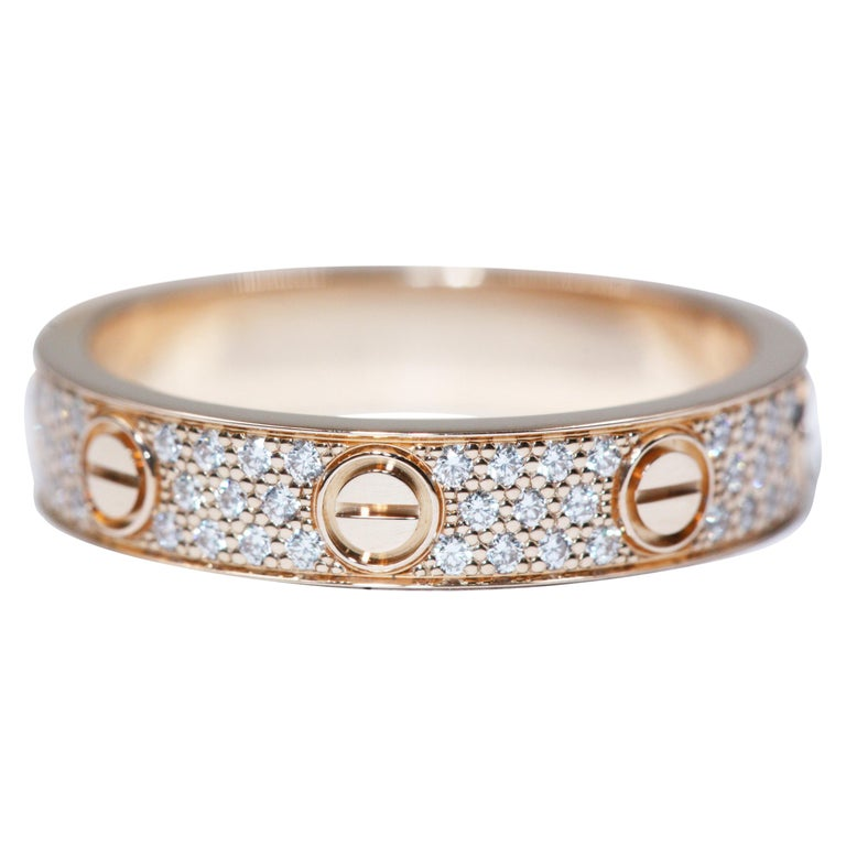 Cartier Love Wedding Band Diamond-Paved Ring in Pink Gold ...