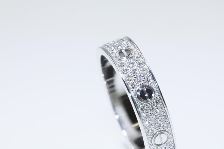 dfe8bd996d5 Women s or Men s Cartier Love Wedding Band Diamond-Paved White Gold Ring  For Sale