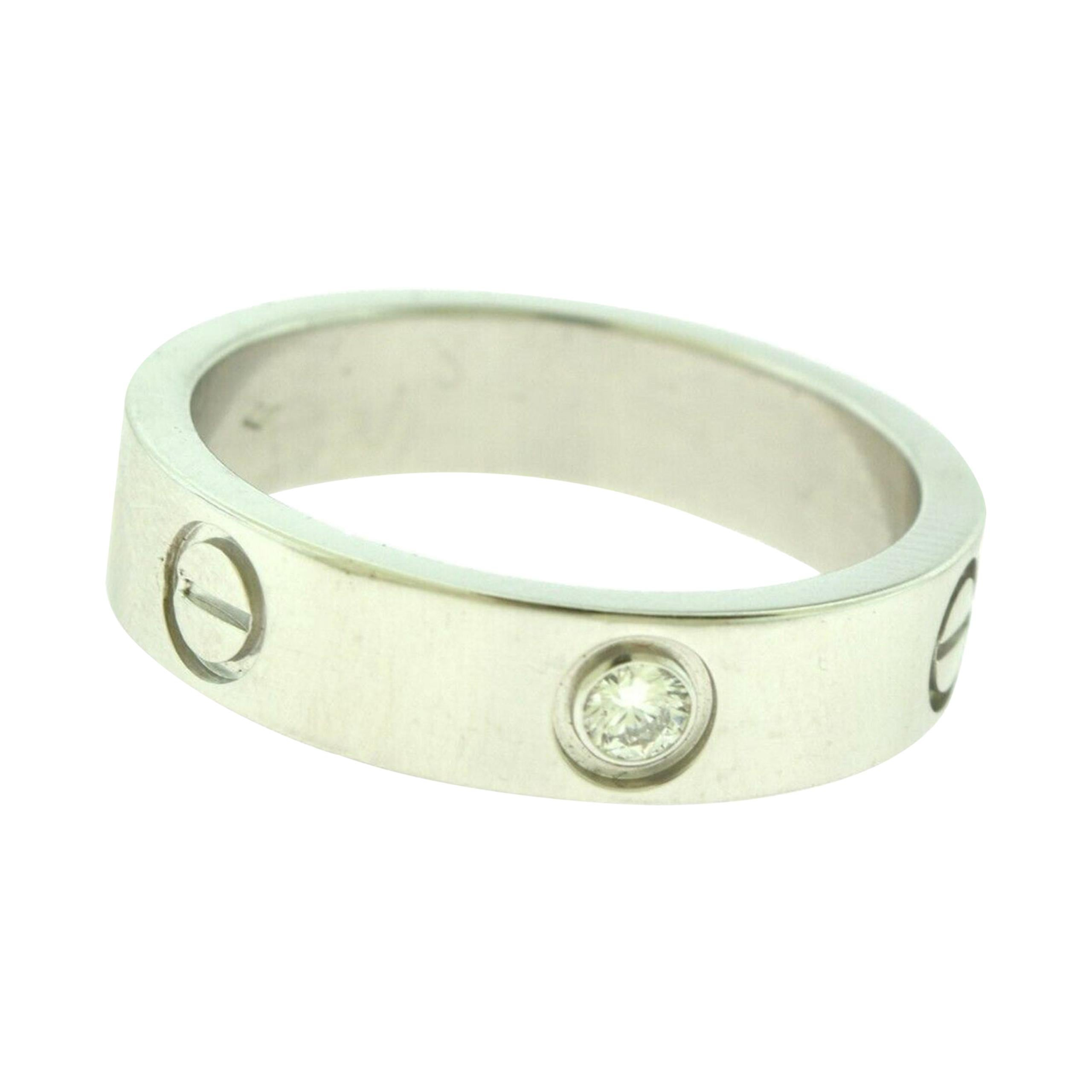 Cartier Love Wedding Band in Platinum, 1 Diamond Ring
