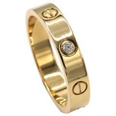 Cartier Love Wedding Band Ring 1 Diamond Yellow Gold