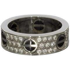 Cartier Love White Gold 0.74 Carat Round Diamond Band Ladies Fashion Ring