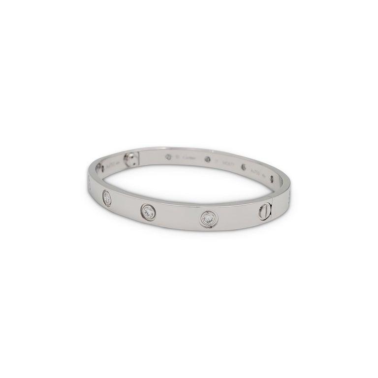 Round Cut Cartier 'Love' White Gold 10-Diamond Bracelet For Sale