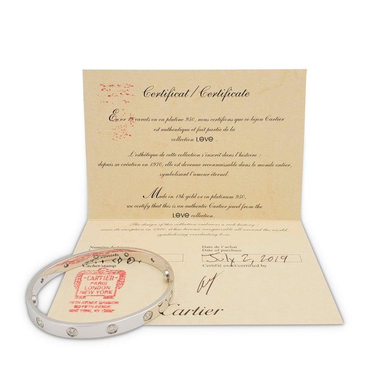 Women's or Men's Cartier 'Love' White Gold 10-Diamond Bracelet For Sale