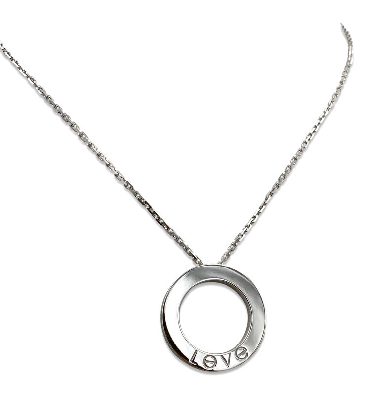 Cartier Love White Gold 6 Diamond Love Pendant Necklace In Excellent Condition In New York, NY