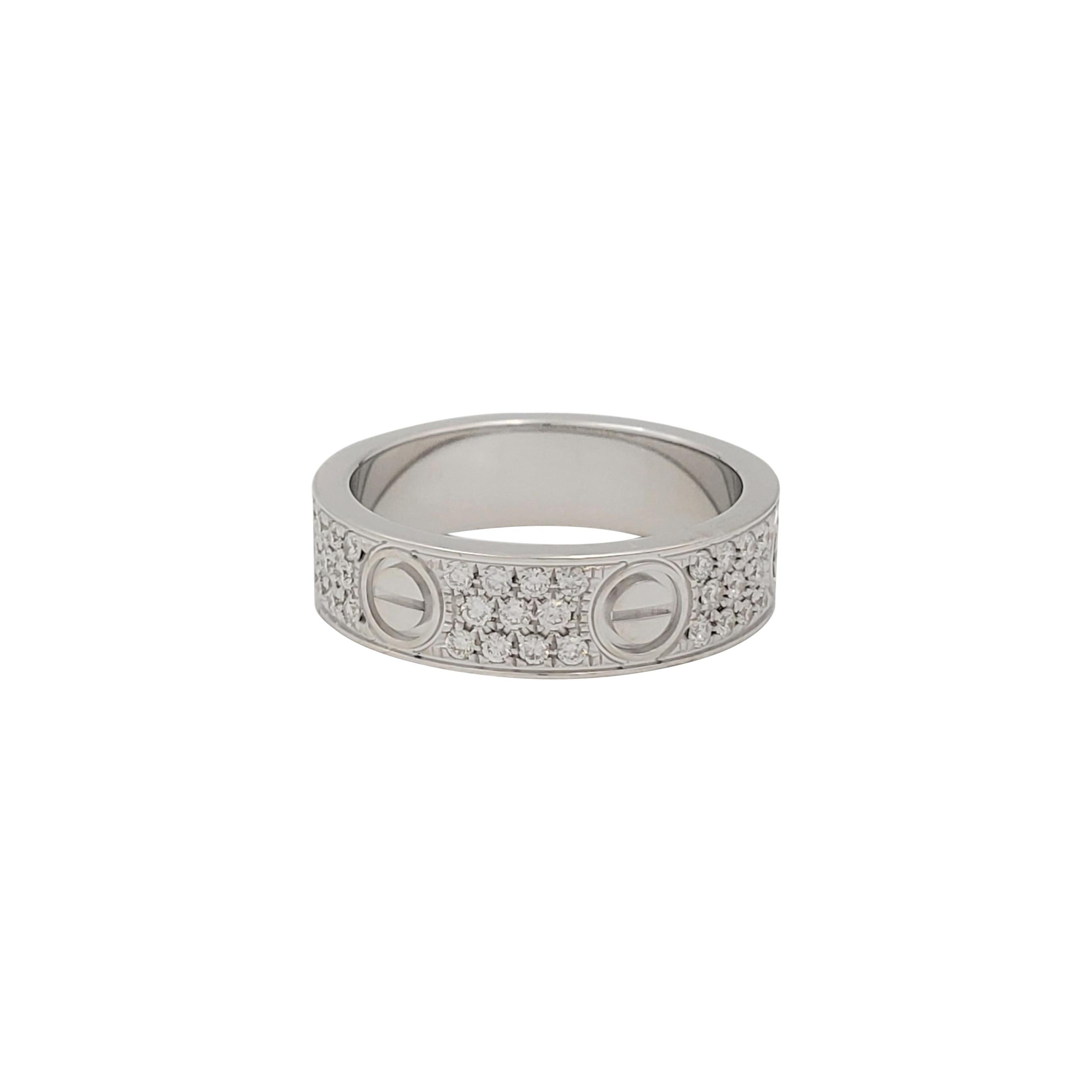 Cartier 'Love' White Gold and Diamond Pave Ring