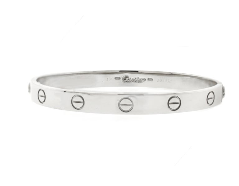 Cartier 'Love' White Gold Bracelet In Excellent Condition For Sale In Bethesda, MD