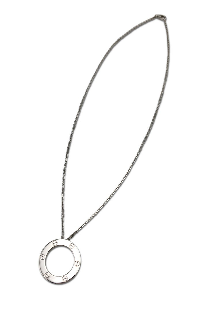 Modern Cartier 'Love' White Gold Circle Charm Pendant Necklace