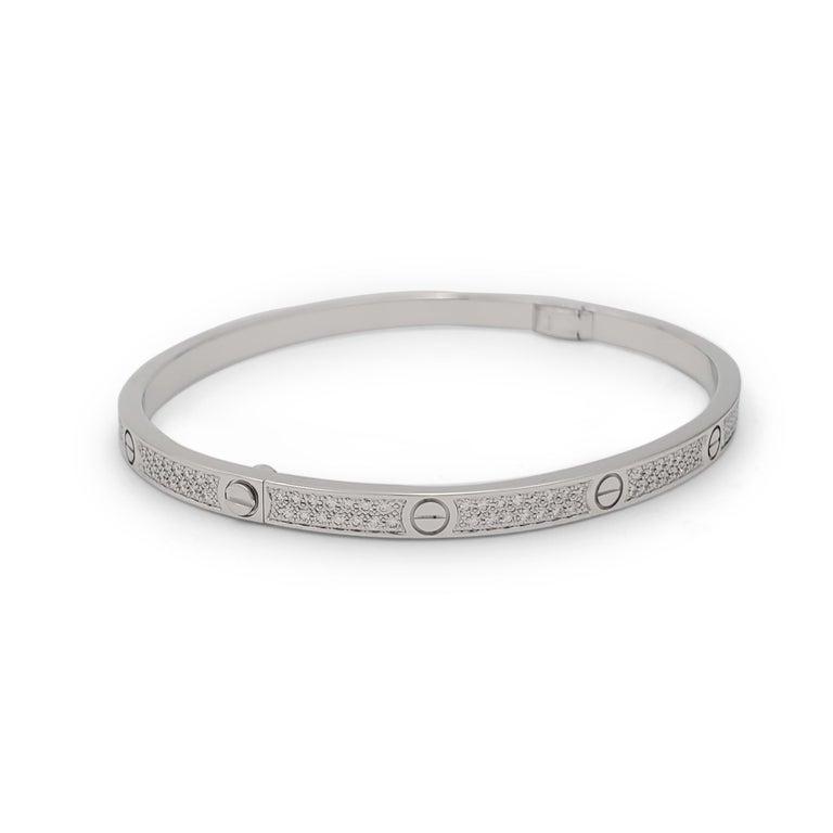 Round Cut Cartier 'Love' White Gold Pavé Diamond Bracelet, Small Model For Sale