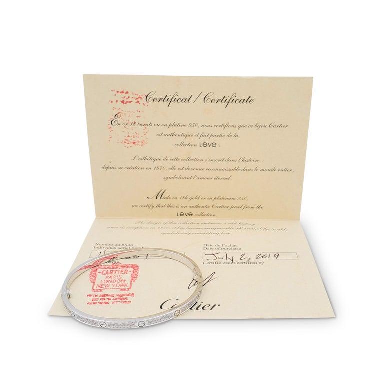 Women's or Men's Cartier 'Love' White Gold Pavé Diamond Bracelet, Small Model For Sale