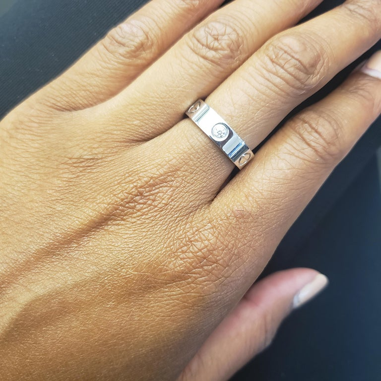 Cartier 'Love' White Gold Three-Diamond Ring In Excellent Condition For Sale In New York, NY