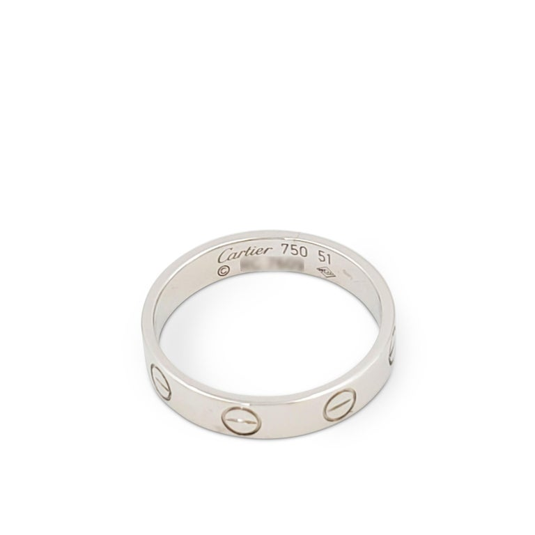 Cartier 'Love' White Gold Wedding Band In Excellent Condition For Sale In New York, NY