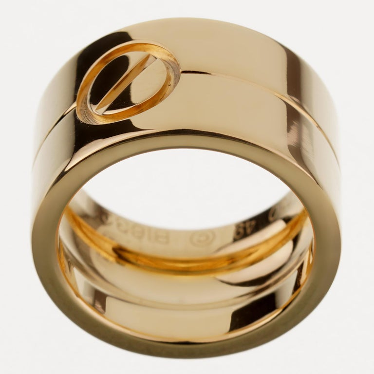 Cartier Love Wide Yellow Gold Band Ring In Excellent Condition For Sale In Feasterville, PA