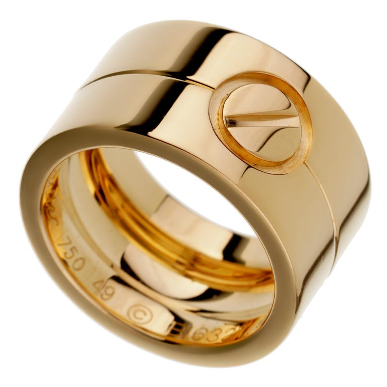 Women's Cartier Love Wide Yellow Gold Band Ring For Sale